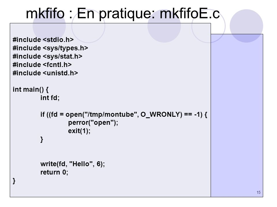 mkfifo : En pratique: mkfifoE.c