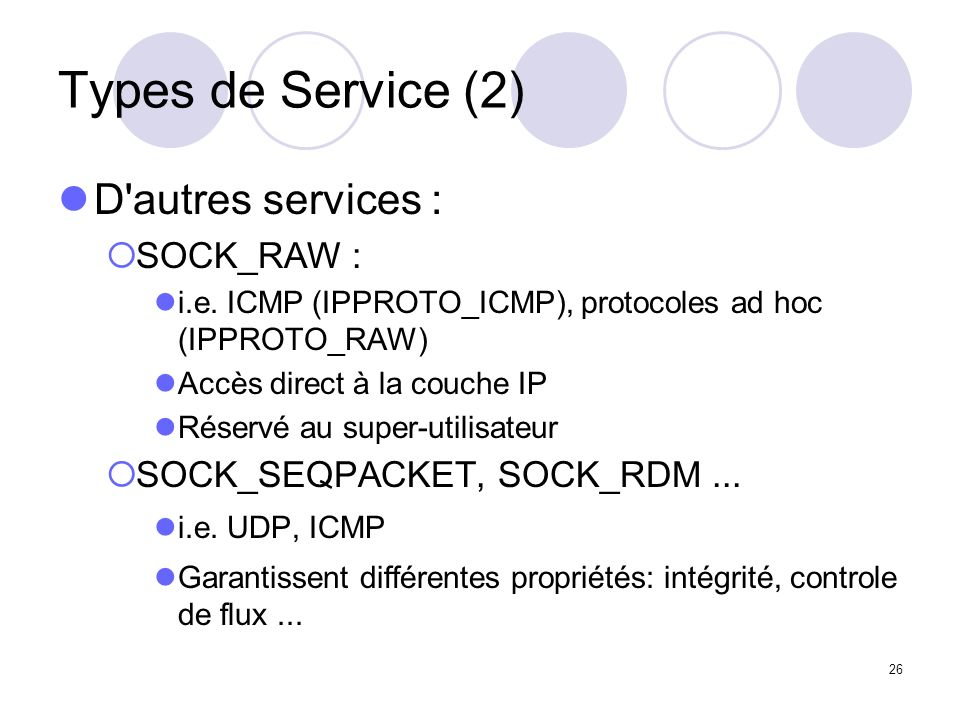 Types de Service (2) D autres services : SOCK_RAW :
