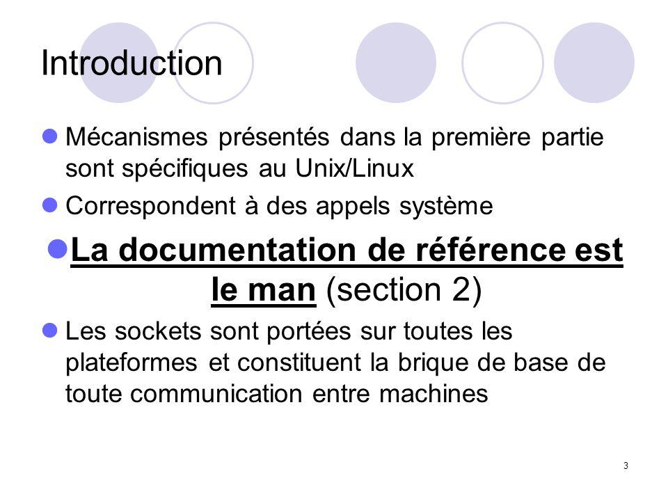 La documentation de référence est le man (section 2)