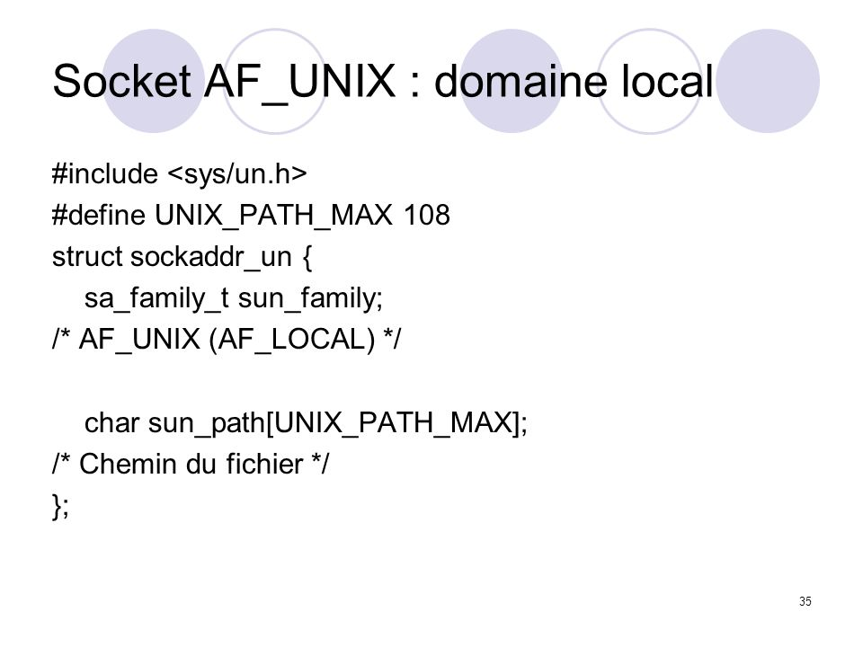 Socket AF_UNIX : domaine local