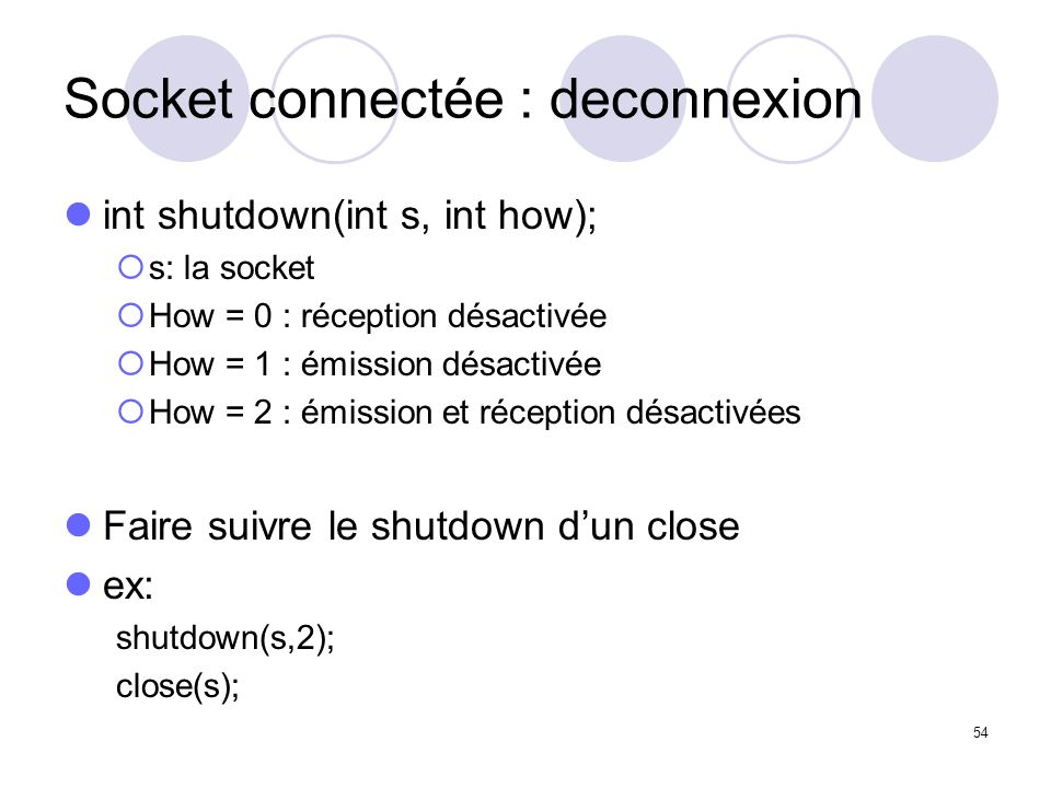 Socket connectée : deconnexion