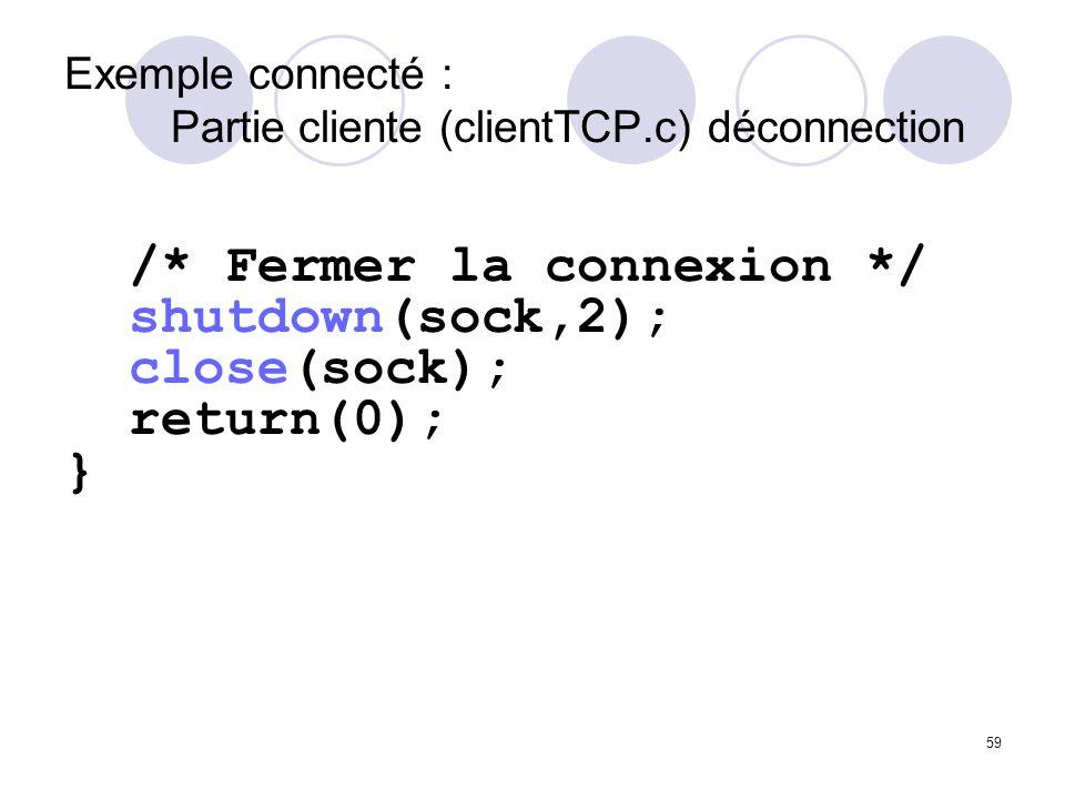 Exemple connecté : Partie cliente (clientTCP.c) déconnection