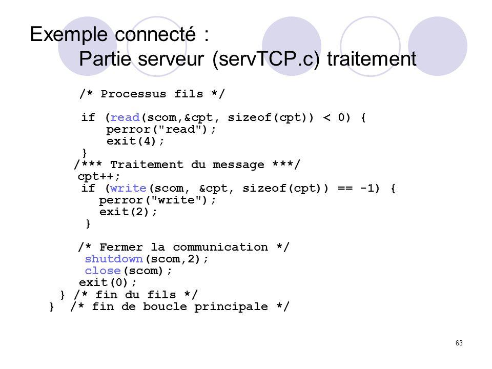 Exemple connecté : Partie serveur (servTCP.c) traitement
