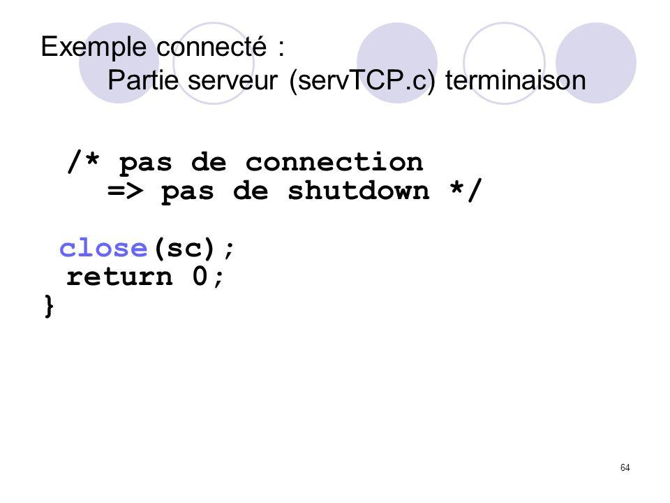 Exemple connecté : Partie serveur (servTCP.c) terminaison