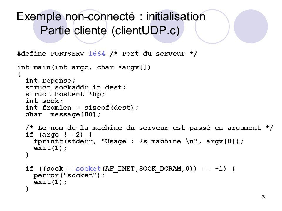 Exemple non-connecté : initialisation Partie cliente (clientUDP.c)
