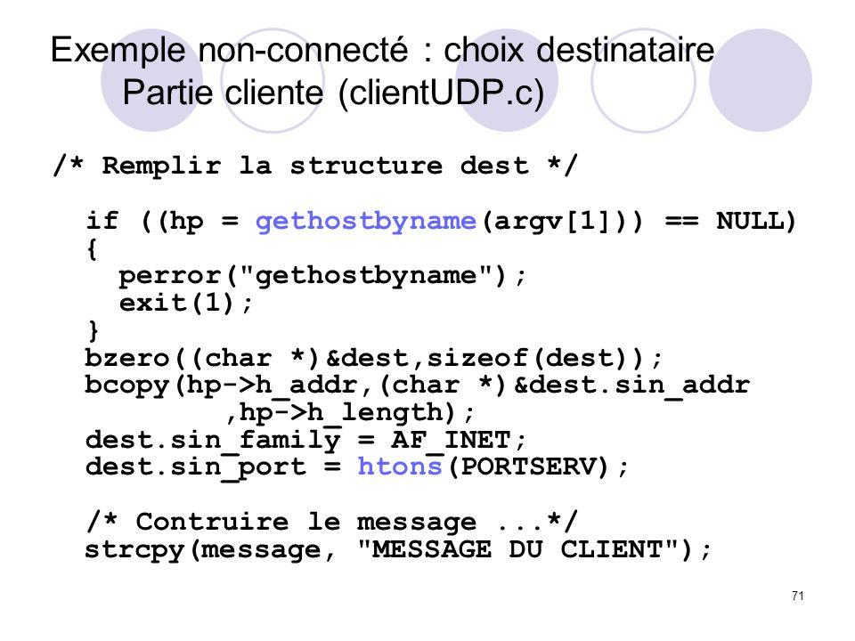 Exemple non-connecté : choix destinataire Partie cliente (clientUDP.c)