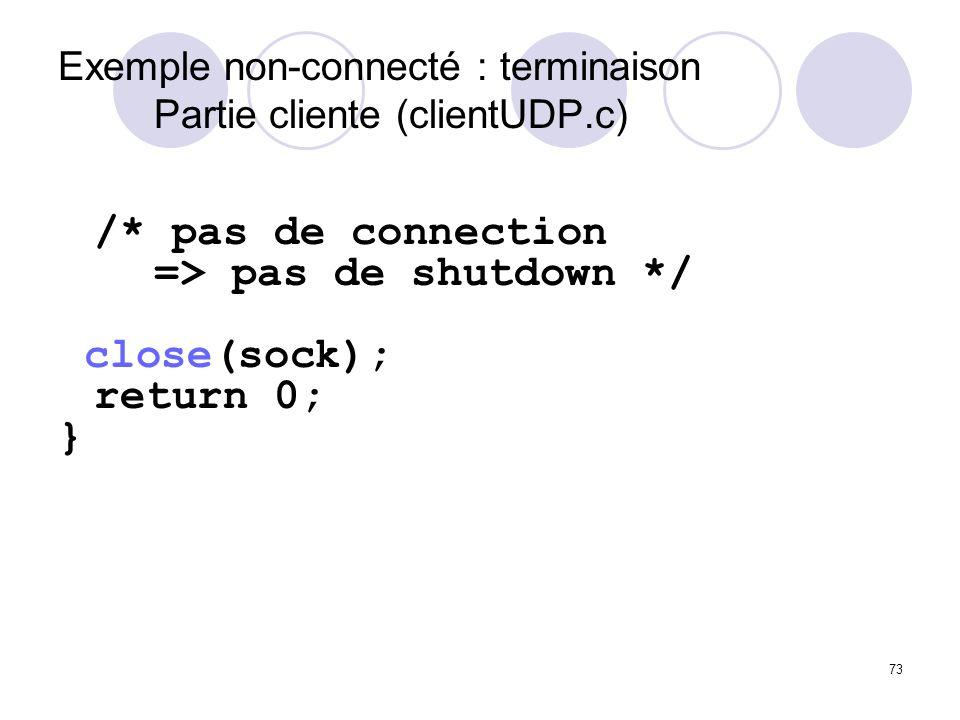 Exemple non-connecté : terminaison Partie cliente (clientUDP.c)