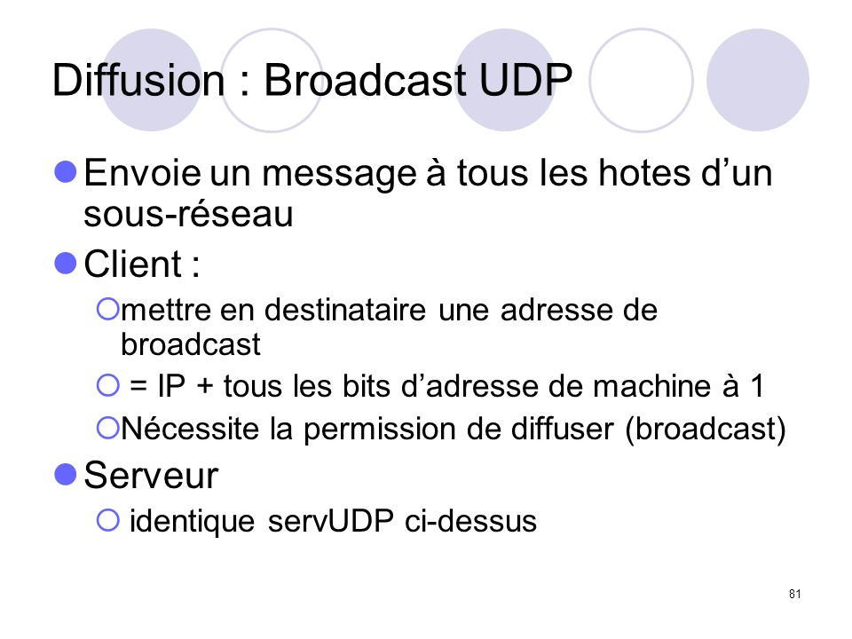 Diffusion : Broadcast UDP