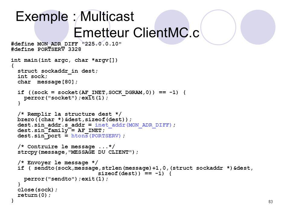 Exemple : Multicast Emetteur ClientMC.c