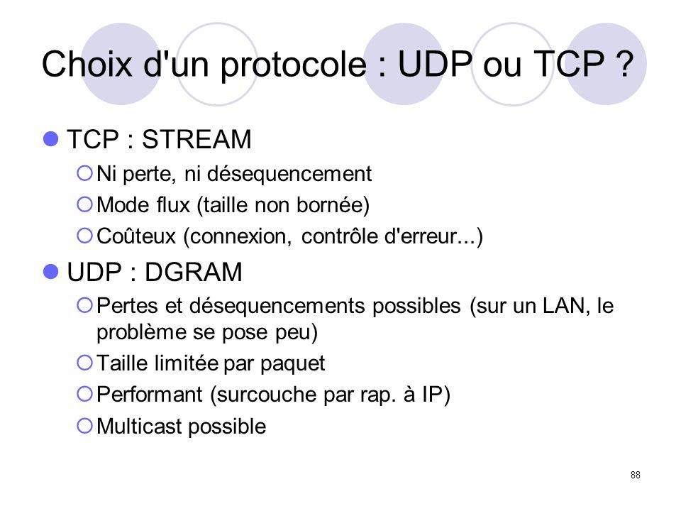 Choix d un protocole : UDP ou TCP