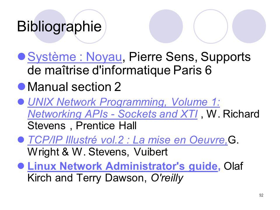 Bibliographie Système : Noyau, Pierre Sens, Supports de maîtrise d informatique Paris 6. Manual section 2.