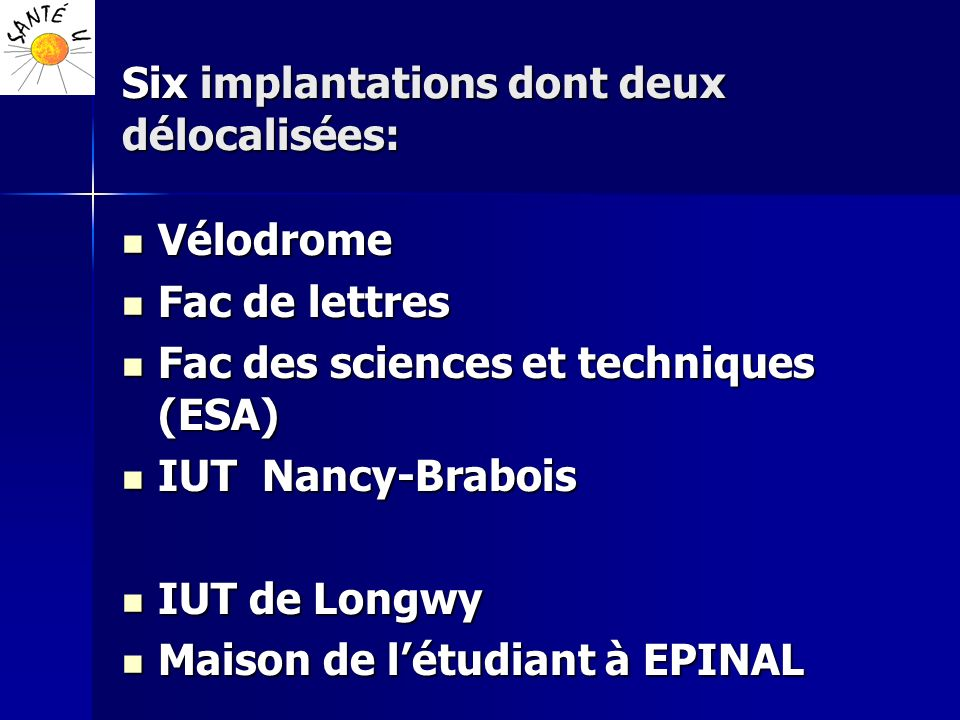 Six implantations dont deux délocalisées: