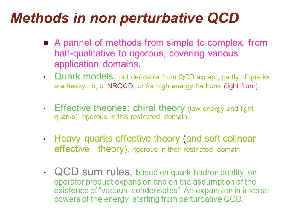 Methods in non perturbative QCD