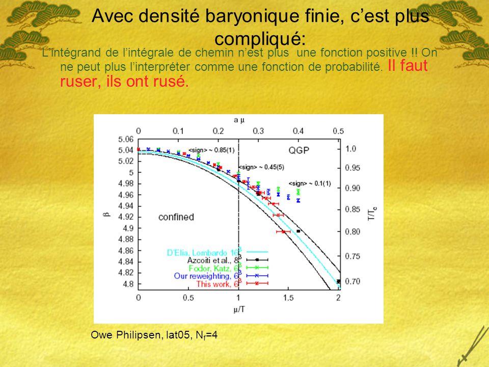 Avec densité baryonique finie, c'est plus compliqué: