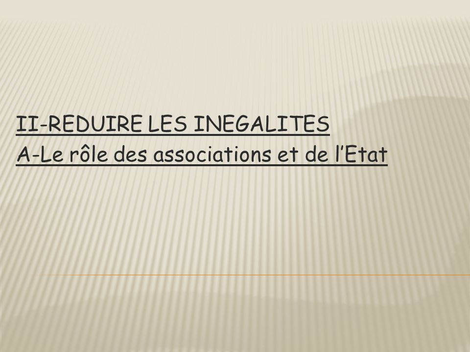 II-REDUIRE LES INEGALITES A-Le rôle des associations et de l'Etat