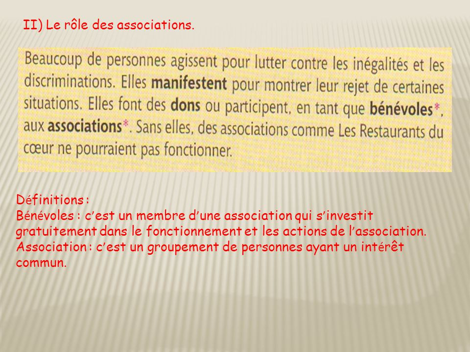 II) Le rôle des associations.