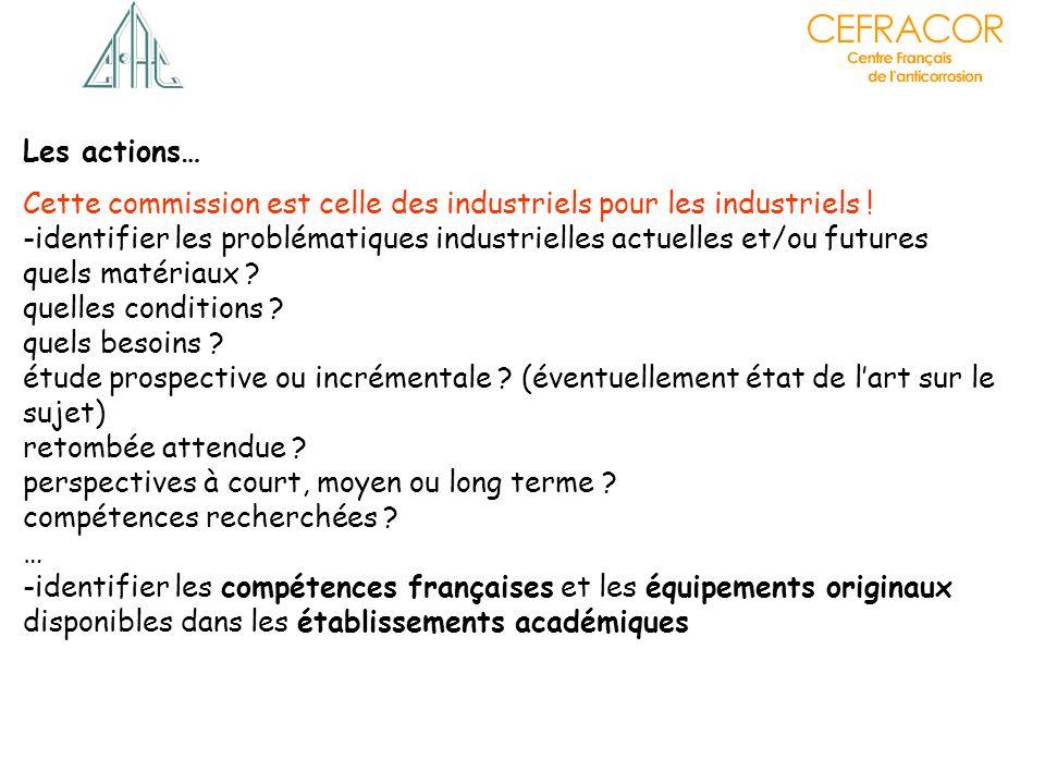 Les actions… Cette commission est celle des industriels pour les industriels ! -identifier les problématiques industrielles actuelles et/ou futures.