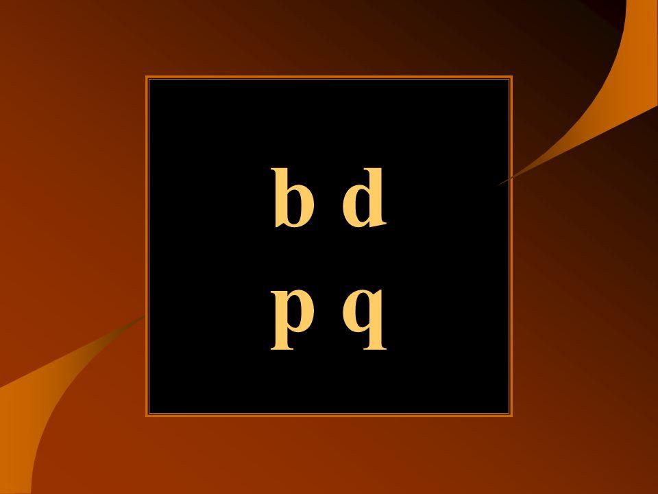b d p q