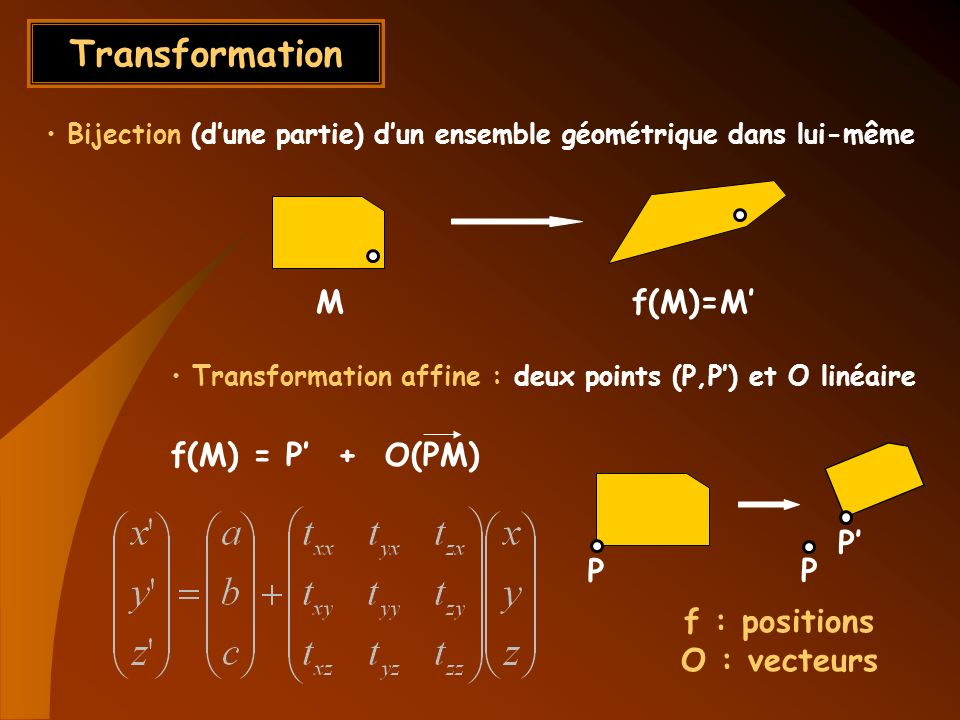 Transformation M f(M)=M' f(M) = P' + O(PM) P' P P f : positions