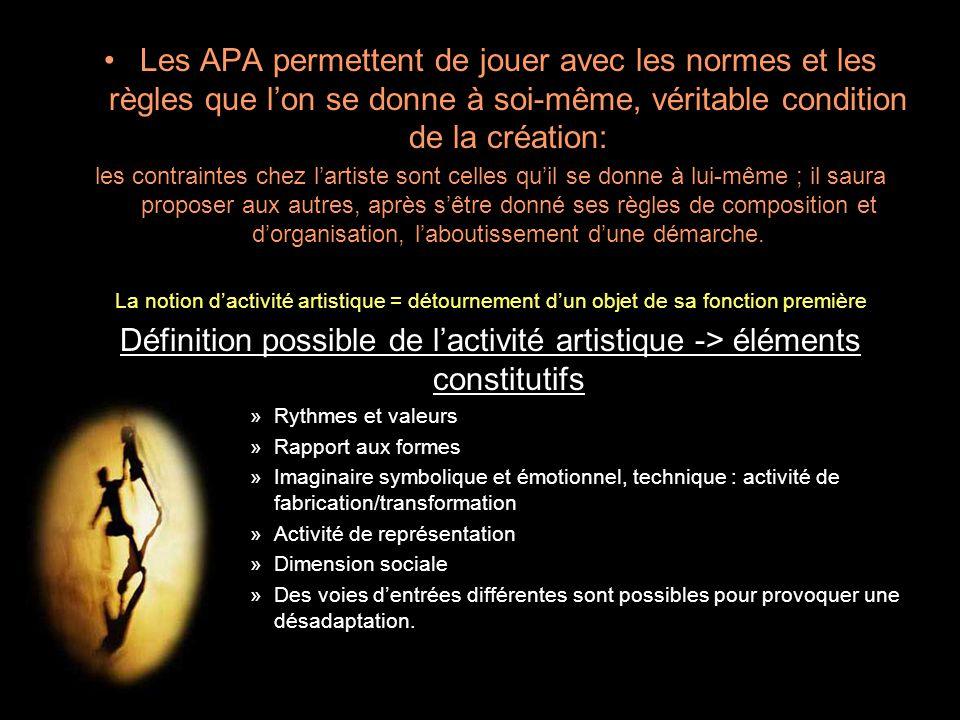 Les APA permettent de jouer avec les normes et les règles que l'on se donne à soi-même, véritable condition de la création: