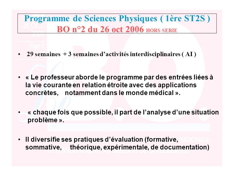 Programme de Sciences Physiques ( 1ère ST2S ) BO n°2 du 26 oct 2006 HORS-SERIE
