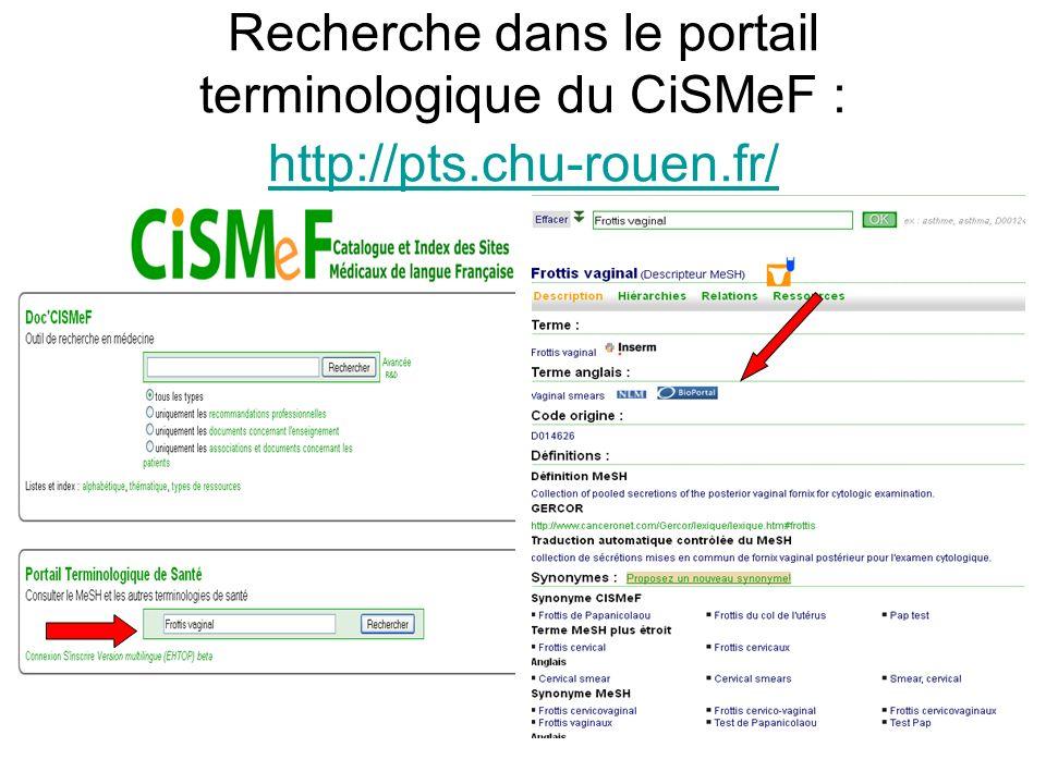 Recherche dans le portail terminologique du CiSMeF : http://pts