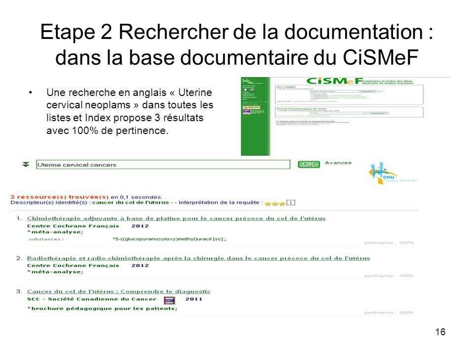 Etape 2 Rechercher de la documentation : dans la base documentaire du CiSMeF