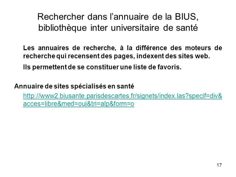 Rechercher dans l'annuaire de la BIUS, bibliothèque inter universitaire de santé