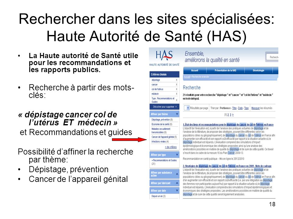 Rechercher dans les sites spécialisées: Haute Autorité de Santé (HAS)