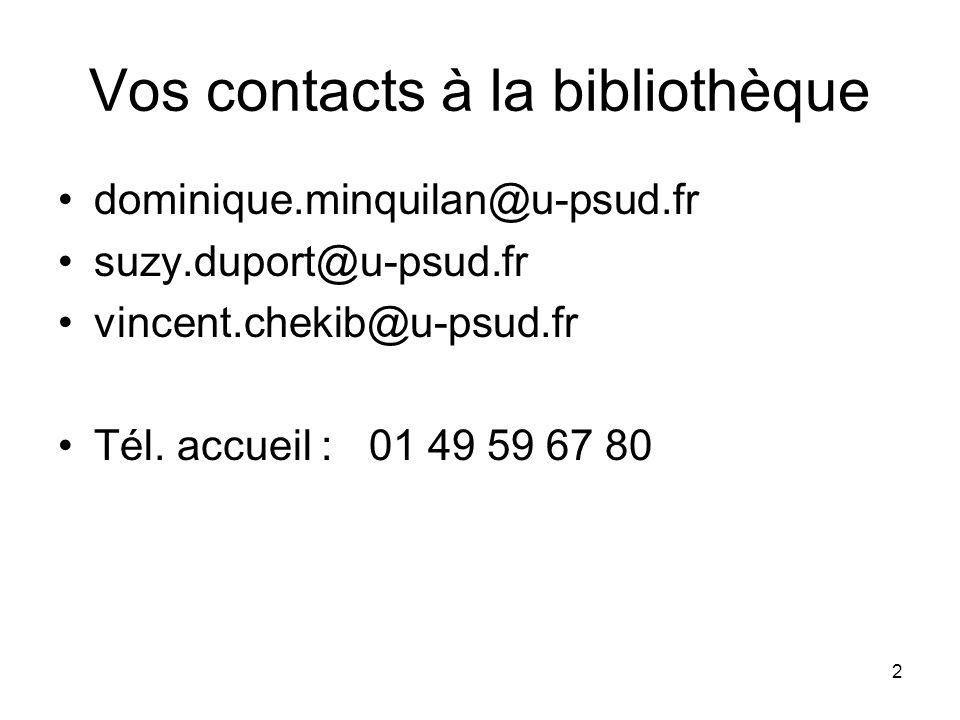 Vos contacts à la bibliothèque