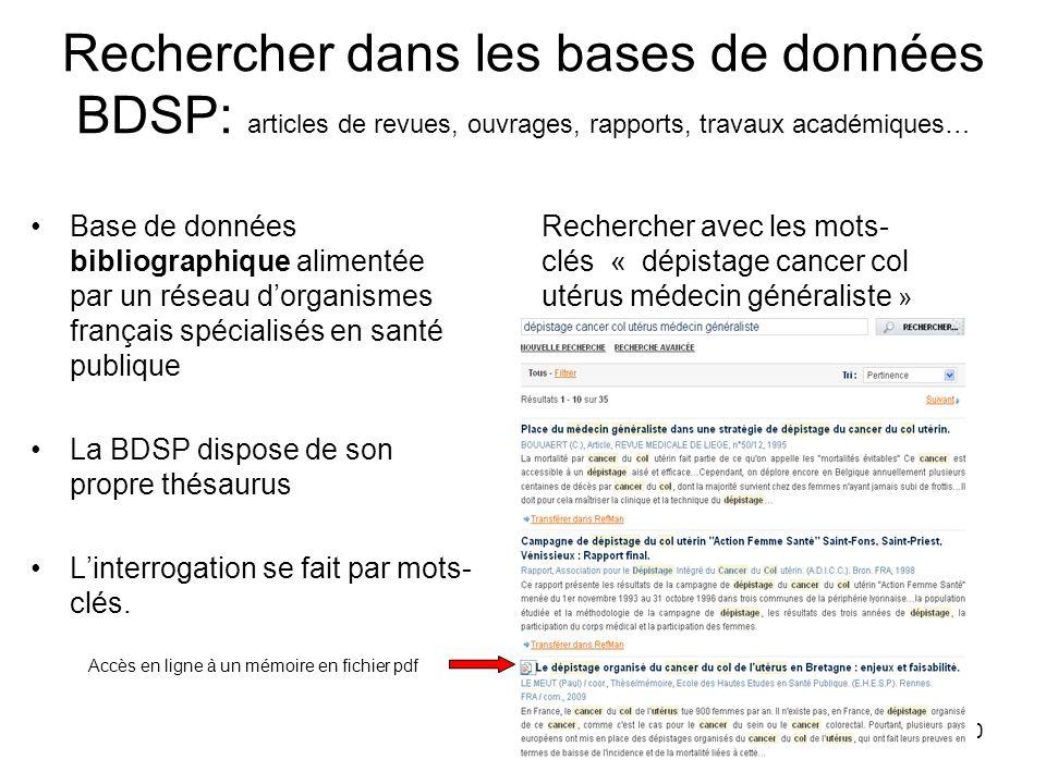 Rechercher dans les bases de données BDSP: articles de revues, ouvrages, rapports, travaux académiques…