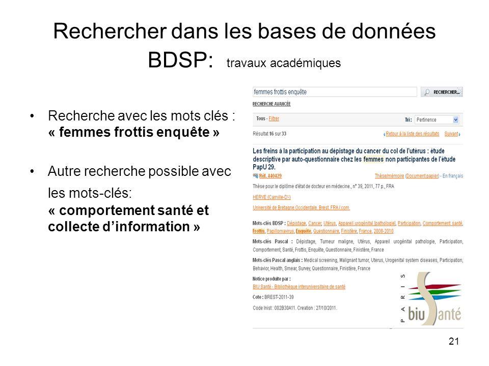 Rechercher dans les bases de données BDSP: travaux académiques