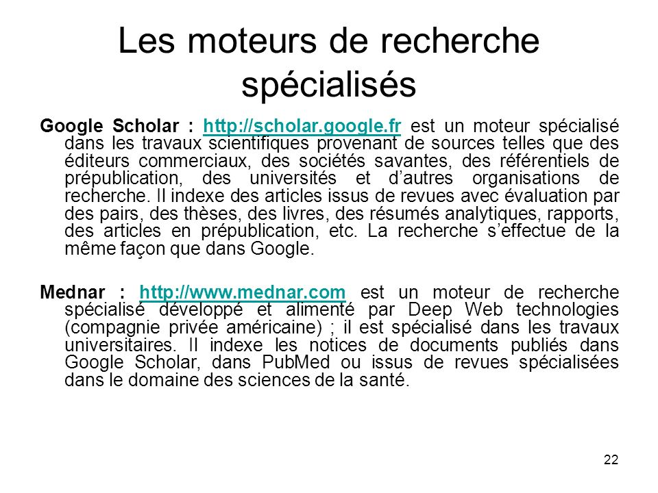 Les moteurs de recherche spécialisés