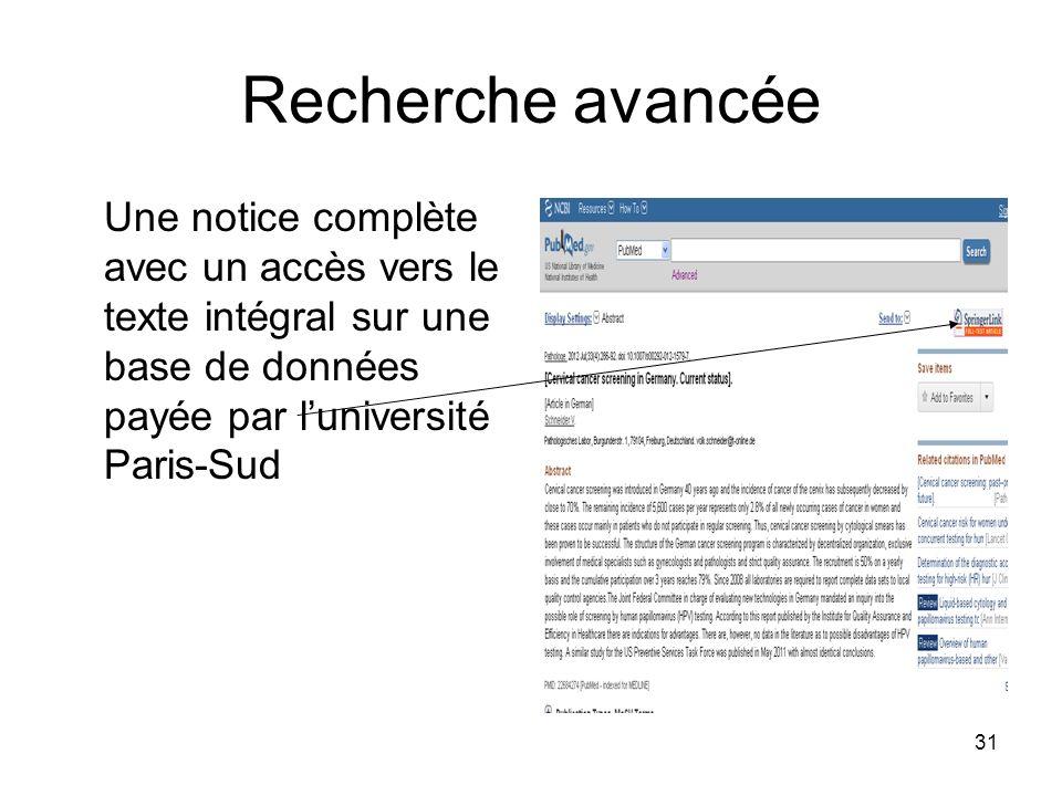 Recherche avancée Une notice complète avec un accès vers le texte intégral sur une base de données payée par l'université Paris-Sud.