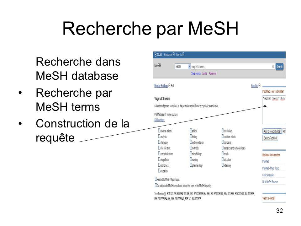 Recherche par MeSH Recherche dans MeSH database