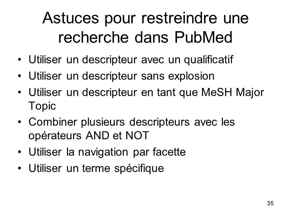 Astuces pour restreindre une recherche dans PubMed
