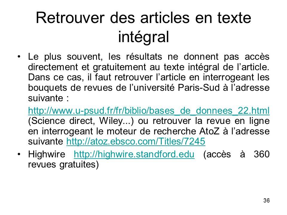 Retrouver des articles en texte intégral