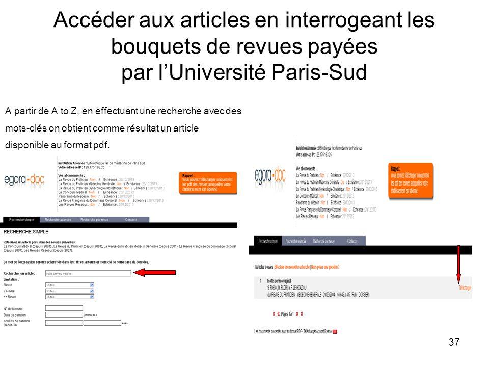 Accéder aux articles en interrogeant les bouquets de revues payées par l'Université Paris-Sud