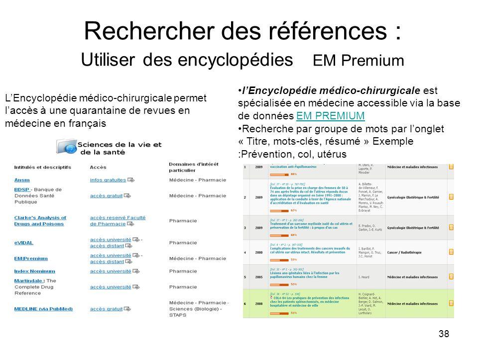 Rechercher des références : Utiliser des encyclopédies EM Premium