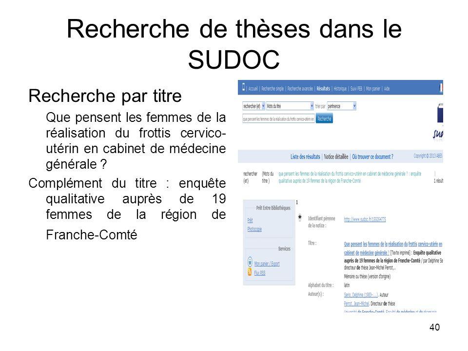 Recherche de thèses dans le SUDOC