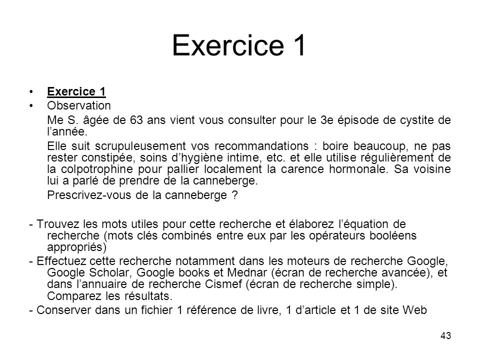 Exercice 1 Exercice 1 Observation