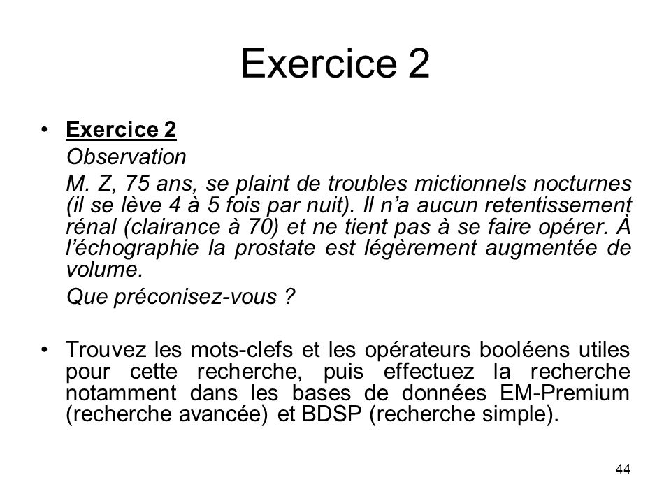 Exercice 2 Exercice 2 Observation