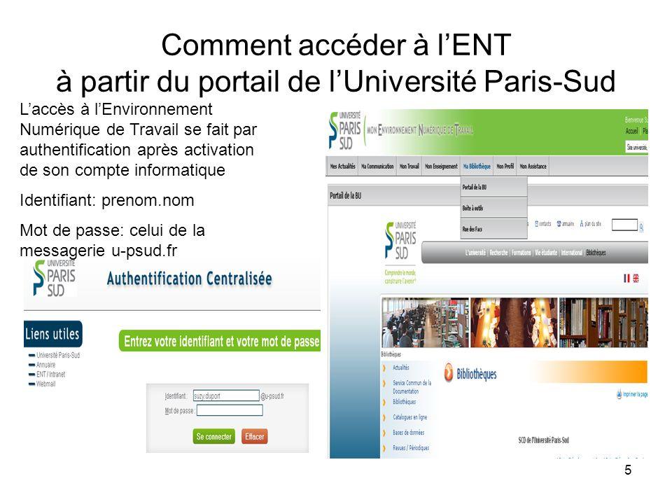 Comment accéder à l'ENT à partir du portail de l'Université Paris-Sud