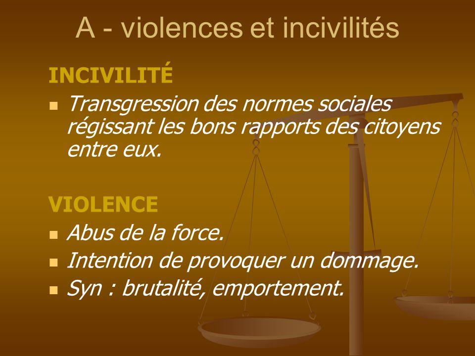 A - violences et incivilités