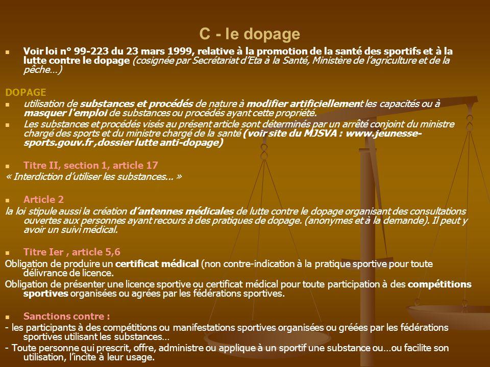 C - le dopage