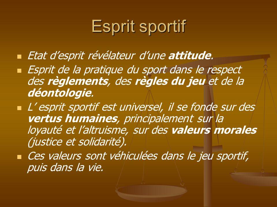 Esprit sportif Etat d'esprit révélateur d'une attitude.