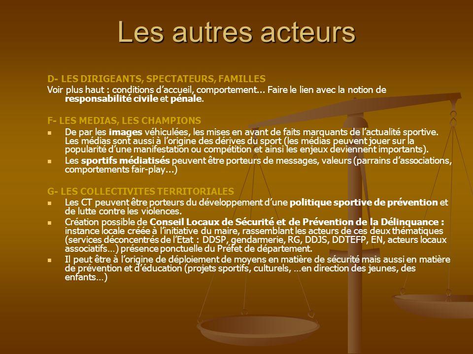 Les autres acteurs D- LES DIRIGEANTS, SPECTATEURS, FAMILLES