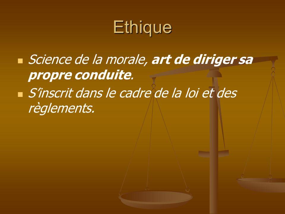 Ethique Science de la morale, art de diriger sa propre conduite.