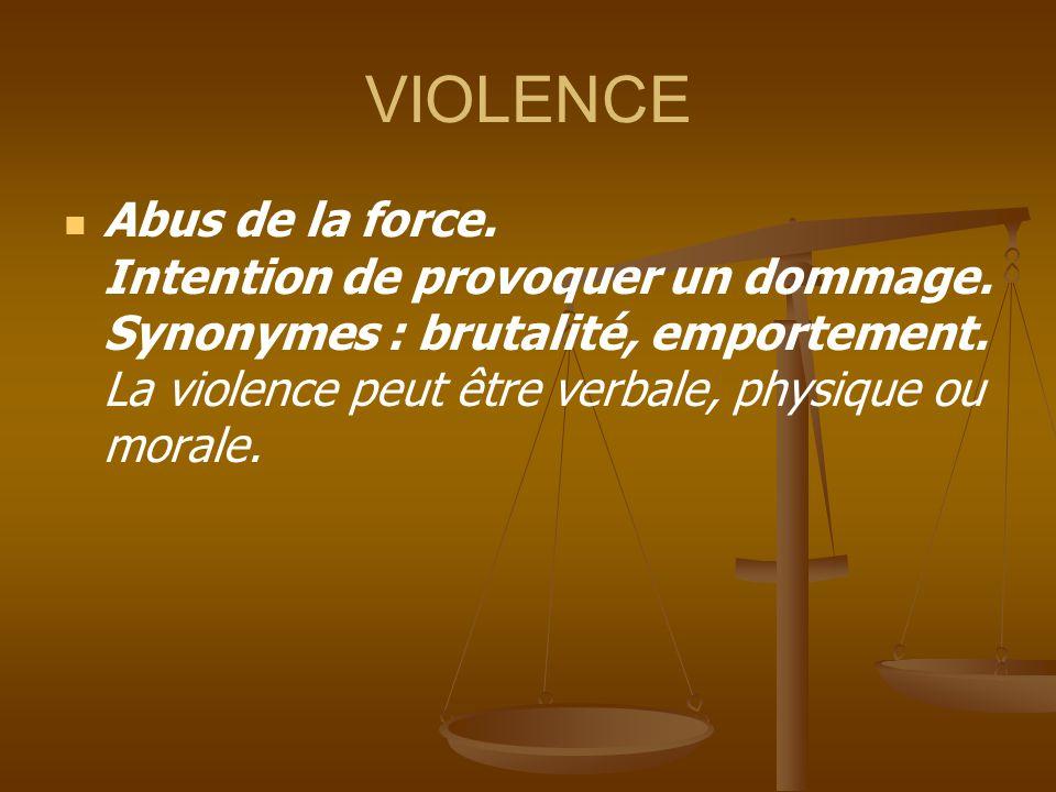 VIOLENCE Abus de la force. Intention de provoquer un dommage.