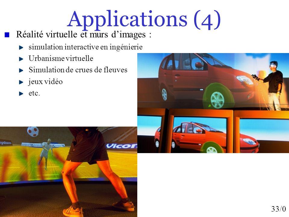 Applications (4) Réalité virtuelle et murs d'images :